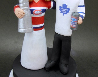 Stanley Cup Hockey Wedding Cake Topper, Montreal Canadians Wedding Anniversary Gift, Toronto Maple Leaf's Wedding CakeTopper,