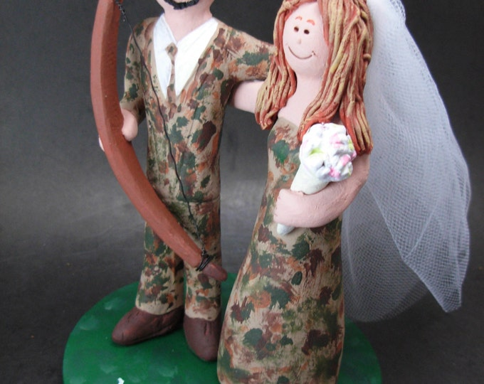 Bow Hunter and Bride in Camouflage Wedding Cake Topper, Camouflage Bride Wedding Cake Topper, Bow Hunting Groom Wedding Cake Topper,