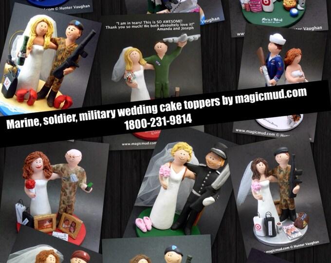 Custom Made Military Groom Wedding Cake Topper - Marines Wedding Cake Topper - Paratroopers Wedding Cake Topper - Army Wedding Cake Topper