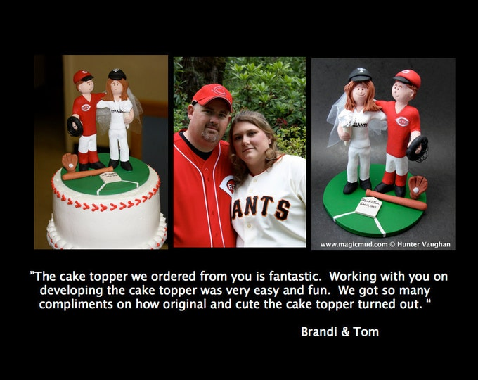 Personalized Baseball Wedding Cake Topper - NY Giants Wedding Cake Topper - Chicago Cubs Wedding Cake Topper - Bride Baseball Cake Topper