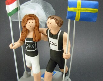 International Romance Wedding Cake Topper - Custom Made Swedish Flag Wedding Cake Topper - Marathon Runners Wedding Cake Topper