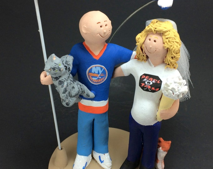 New York Islanders Wedding Cake Topper, Pregnant Bride Wedding Cake Topper, Pearl Jam Wedding Cake Topper,  Wedding Cake Topper Custom Made