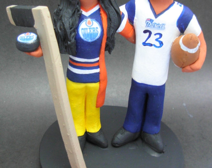 Edmonton Oilers Hockey Wedding Cake Topper, Hockey Bride and Groom Wedding Cake Topper, Bald Groom Wedding CakeTopper, Hockey Caketopper