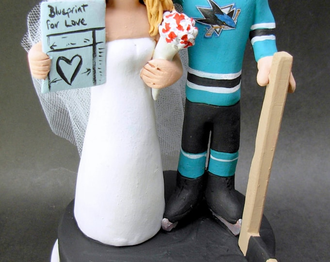 San Jose Sharks Hockey Wedding Cake Topper, Hockey Bride and Groom Wedding Cake Topper, Hockey Wedding Anniversary Gift , Hockey Caketopper