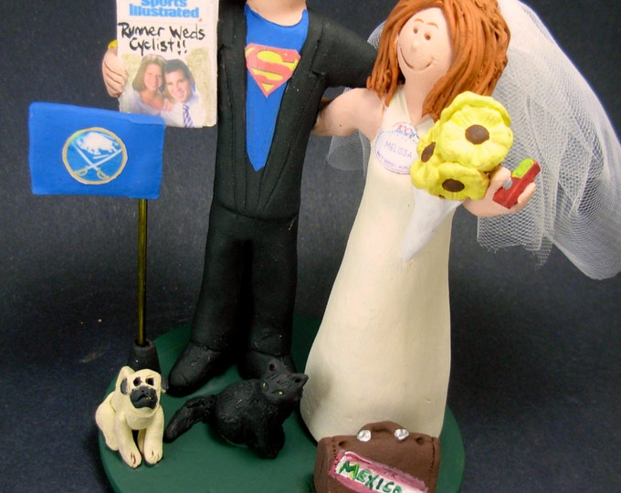 SuperHero Groom Wedding Cake Topper - Bride With Cel Phone Wedding Cake Topper, Superman Wedding Cake Topper,Custom Made Wedding Cake Topper