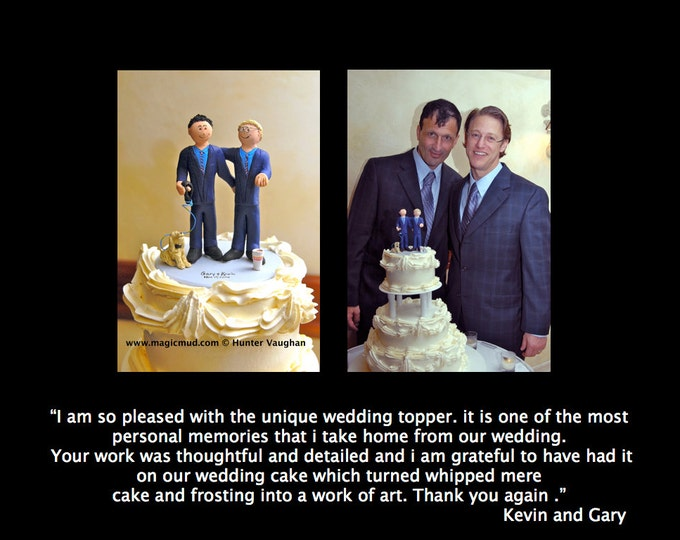Gay Wedding Cake Toppers custom made for same sex weddings!...handmade to order to your specifications. - Gays Wedding Cake Topper -