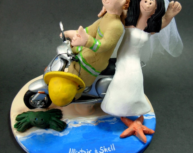 Scooter Wedding Cake Topper, Vespa Wedding Cake Topper, Bride and Groom on Vespa Scooter Wedding Cake Topper, Fireman Wedding Cake Topper