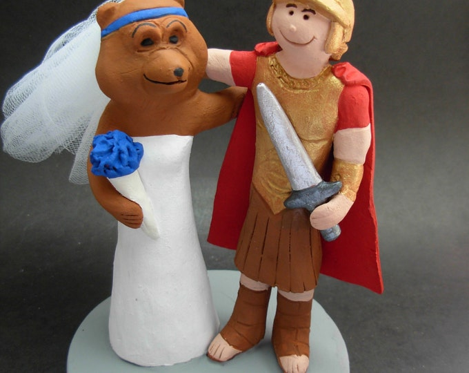 Bear and Gladiator college mascot wedding cake toppers, Bear Bride Wedding Cake Topper, Gladiator Mascot Groom Wedding Cake Topper