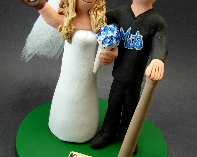 Yankees Bride Mets Groom Baseball Wedding Cake Topper,Yankees Baseball Wedding Anniversary Cake Topper, Yankees Wedding Anniversary Gift.