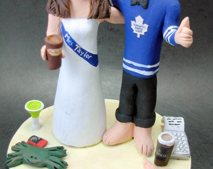 Tim Horton's Coffee Wedding Cake Topper, Tim Horton Coffee Loving Wife's Wedding Anniversary Gift , Toronto Maple Leafs Wedding CakeTopper