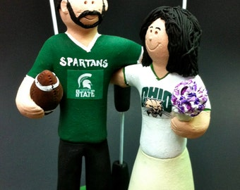 Michigan State Spartans Groom Wedding Cake Topper, Ohio Bobcats Bride Wedding Cake Topper, Ohio Bobcats Wedding Anniversary Gift,