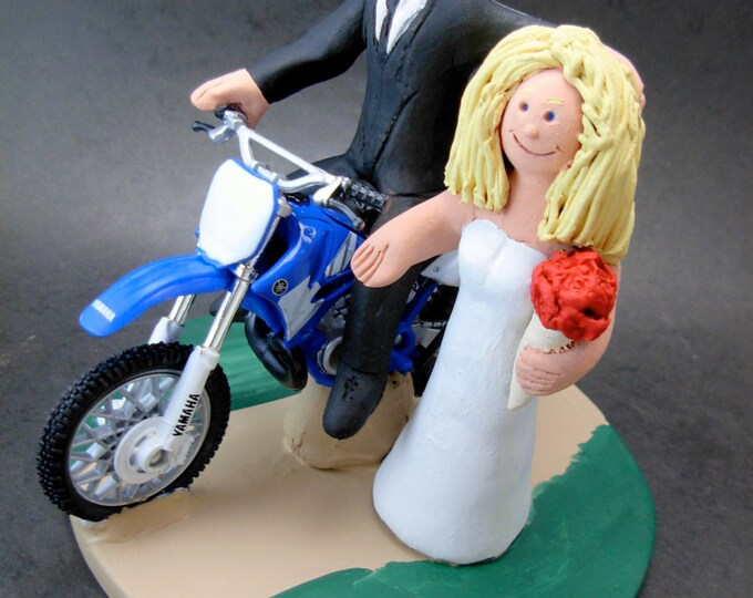 Yamaha Off Road Motorcycle Wedding Cake Topper, Motorcycle Wedding Anniversary Gift, Yamaha Motorcycle Wedding Anniversary Gift.
