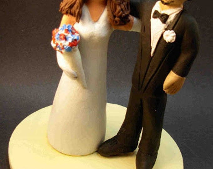 American Bride Hispanic Groom Wedding Cake Topper, American Latino Wedding CakeTopper, Wedding Anniversary Gift for American / Latino Couple