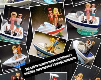 Boating Bride and Groom Wedding Cake Topper, Custom Made Sailboat Wedding Cake Topper, Boating Wedding Cake Topper, Boat Wedding Cake Topper