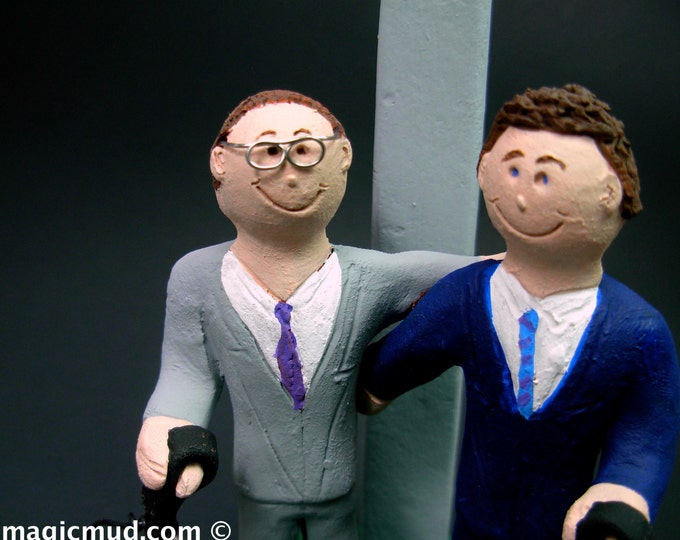 Same Sex Wedding Cake Topper with Pet Dogs , Gay Wedding Cake Topper, Caketopper for 2 Men, Two Grooms Caketopper, Gays Wedding Cake Topper