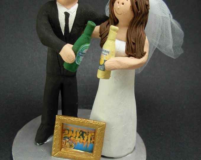 Heineken vs Corona Beer Drinking Bride and Groom Wedding Cake Topper, Beer Drinkers Wedding Cake Topper, Imported Beer Wedding Cake Topper