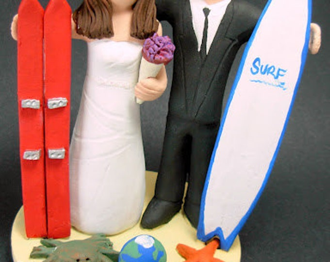Skiier Bride Wedding Cake Topper, Wedding Cake Topper for Surfer,  Skiier Marries Surfer Groom Wedding Cake Topper - Custom Made Caketopper