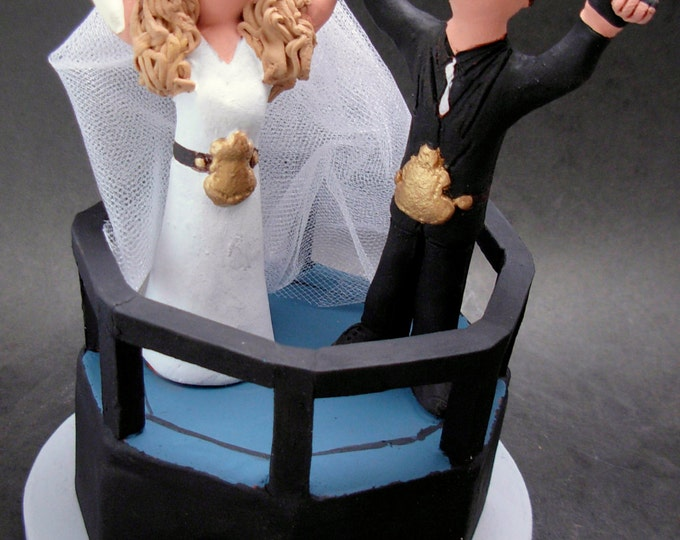 WWF Wrestling Bride and Groom Wedding Cake Topper - Pro Wrestling League Wedding Cake Topper - Ultimate Boxing Ring Wedding Cake Topper