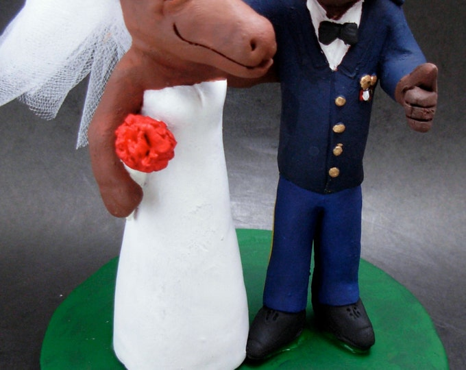Bear Groom and Moose Bride Wedding Cake Topper, Animal Wedding Cake Topper, Bear in Dress Blues Soldier's Uniform Wedding Cake Topper