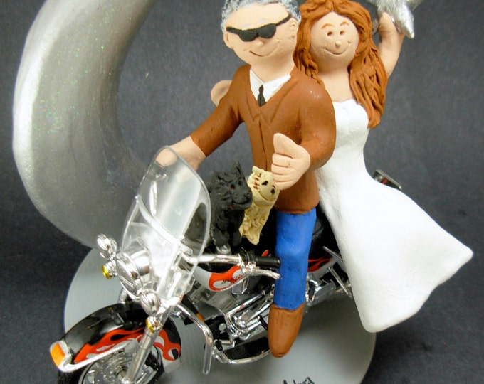 Harley Motorcycle Wedding Cake Topper, Wedding Cake Topper for Bikers, Motorcycle Wedding Cake Topper, Crescent Moon Wedding Cake Topper