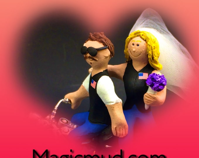 Personalized Motorcycle Wedding Cake Topper, Harley Davidson Bikers Wedding Cake Topper,  Wedding Cake Topper for Motorcycle Riders