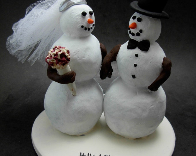 Snowman Bride and Groom Wedding Cake Topper, custom made Snowman Wedding Cake Topper,  Wedding Cake Topper for Snowmen