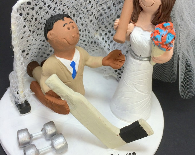 Mixed Race Wedding Cake Topper Figurine - Custom Made Interracial Wedding Cake Topper, Goalie Groom Wedding Cake Topper