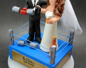 WWE Wrestling Ring Wedding Cake Topper - Custom Made Wrestlers Wedding Cake Topper - WWF Wedding Cake Topper - Pro Wrestling League Topper