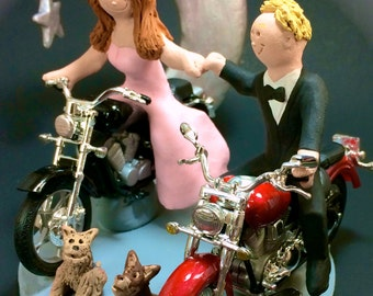 Bride and Groom on Motorcycles Wedding Cake Topper