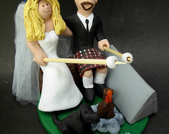 Camper's Wedding Cake Topper, Campfire Marshmallows Wedding Cake Topper, Marshmallow Wedding Cake Topper, Groom in Kilt Wedding Cake Topper