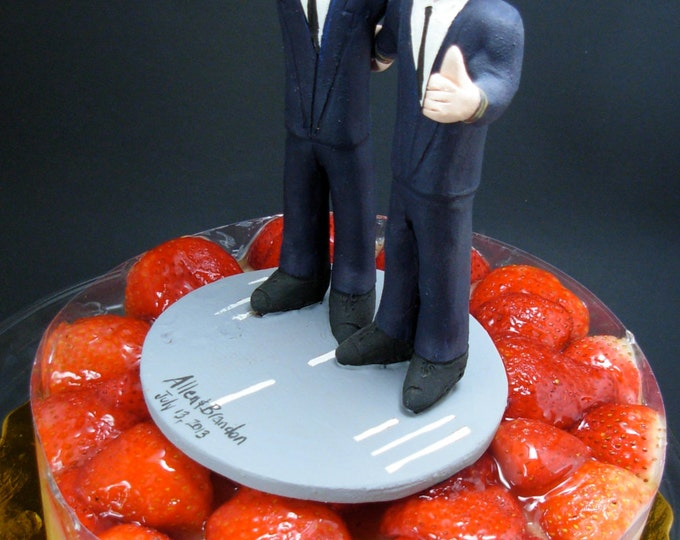 Wedding Cake Topper for Two Gays, Gay Wedding Figurine, Same Sex Wedding Cake Topper, Two Men Wedding Cake Topper, gay marriage figurine