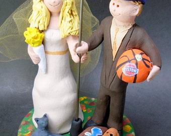 Basketball Wedding Cake Topper - Michigan State Wedding Cake Topper - Detroit Tigers Wedding cake topper - Red Wings Wedding Cake Topper