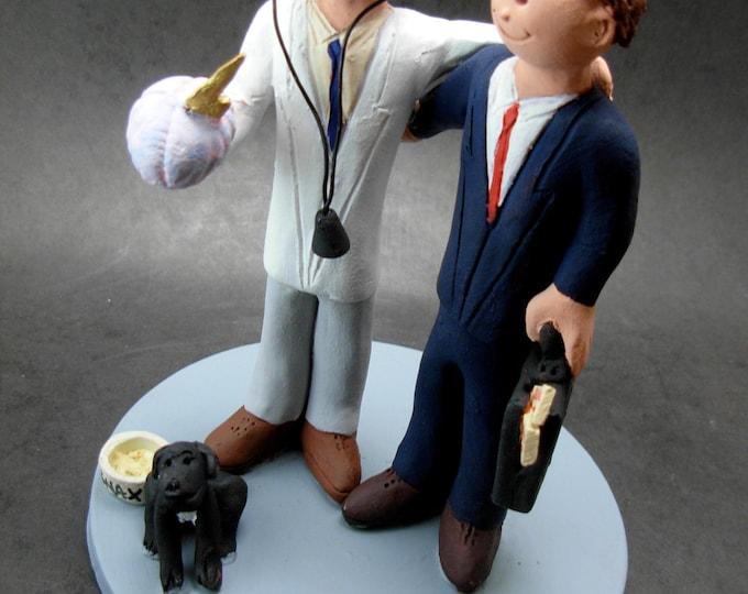 Gay Groom's Wedding Cake Topper, Same Sex Wedding Cake Topper, Gay Dopctors Wedding Cake Topper, Caketopper for 2 Men, Two Grooms Caketopper