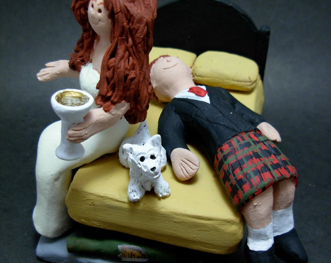Drunken Groom Passed Out Wedding Cake Topper, Groom in Kilt Wedding Cake Topper, Drunk Bride and Groom Wedding Cake Topper