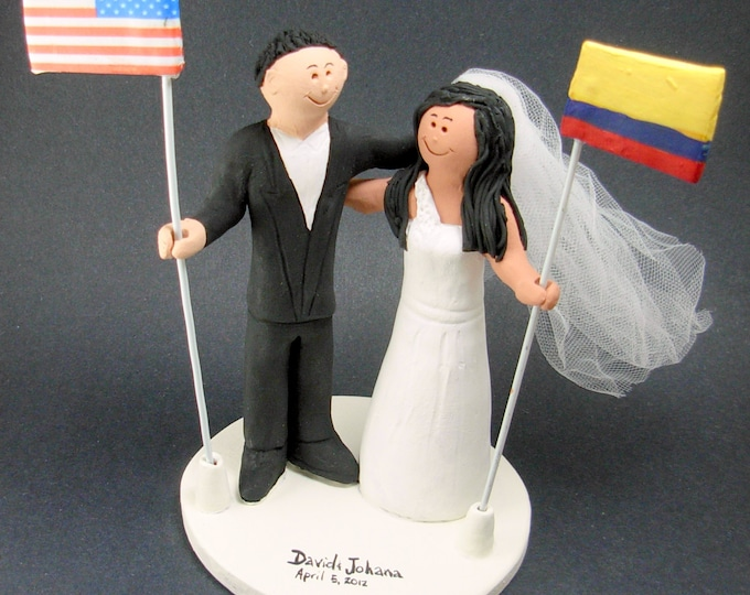 Colombian Bride American Groom Wedding Cake Topper, Wedding CakeTopper with Country of Origin Flags, Colombian Bride Figurine, CakeTopper