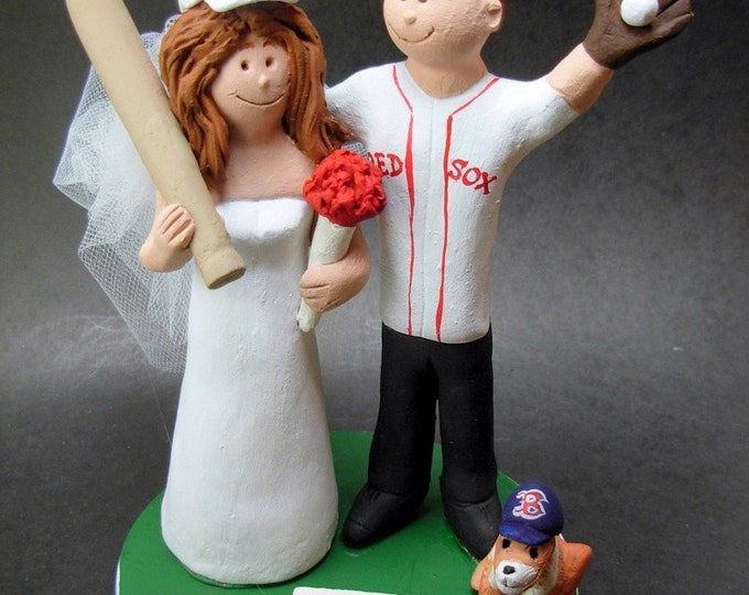 Boston Red Sox Bride Wedding Cake Topper, Red Sox Wedding Anniversary Gift, Boston Red Sox Wedding CakeTopper, Baseball Anniversary Gift
