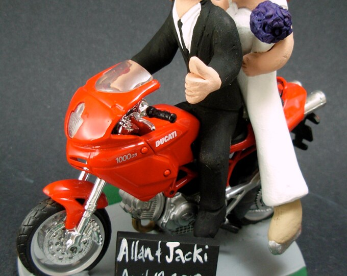 Bride and Groom on Ducati Sportbike Motorcycle Wedding Cake Topper, Motorcycle Wedding Cake Topper, Motorcycle Riders Wedding Cake Topper