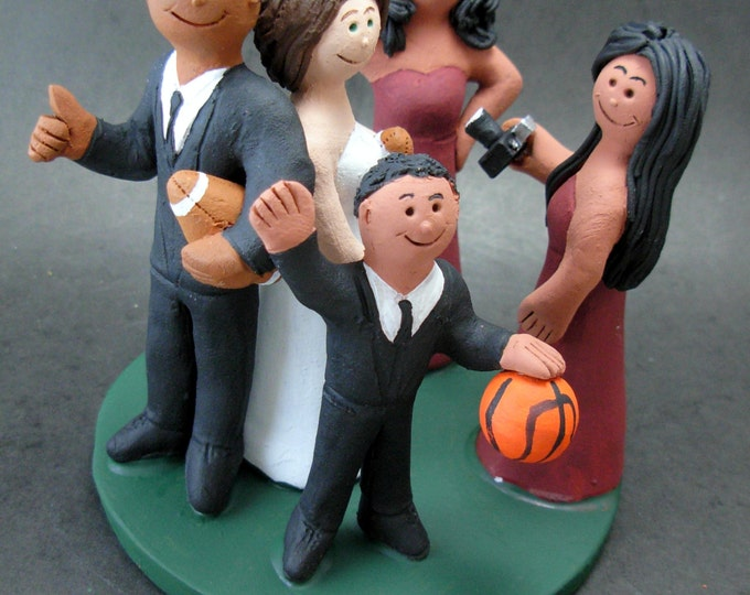 Mixed Race Family Wedding Cake Topper, Wedding CakeTopper with Kids, 2nd Marriage CakeTopper, Wedding CakeTopper with Children,family topper