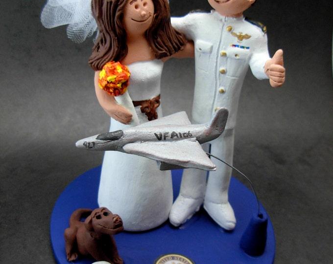 Air Force Jet Pilot Groom In Uniform Wedding Cake Topper, Jet Pilot WeddingAnniversary Gift/Cake Topper, F16 Jet Pilot's Wedding Cake Top.