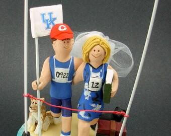 Wedding Cake Topper for Marathon Runners,  Triathlon Runners Wedding Cake Topper, Running Bride and Groom Wedding Cake Topper