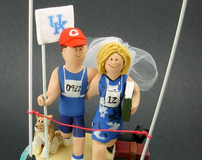 Wedding Cake Topper for Marathon Runners,  Triathlon Runners Wedding Cake Topper, Running Bride and Groom Wedding Cake Topper