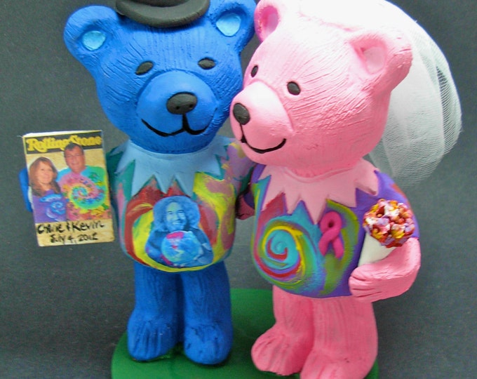 Jerry Grateful Bears Wedding Cake Topper, Custom Made Grateful Dead Dancing Bears Wedding Cake Topper, Jerry Bear Wedding Cake Topper