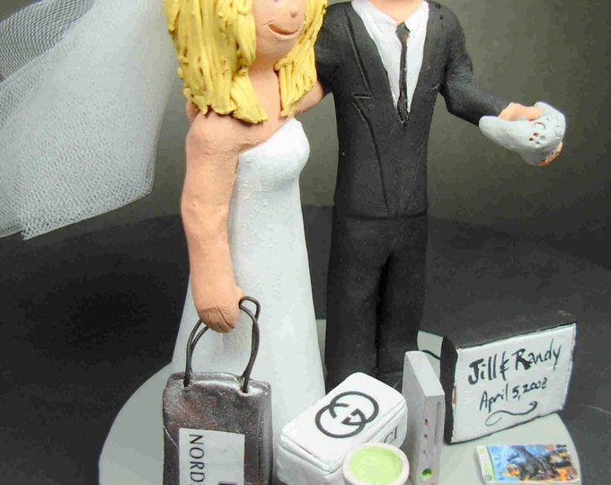 Video Gamer Groom and Shopaholic Fashionista Bride Wedding Cake Topper - Playstation Wedding Cake Topper, Gamers Wedding Cake Topper