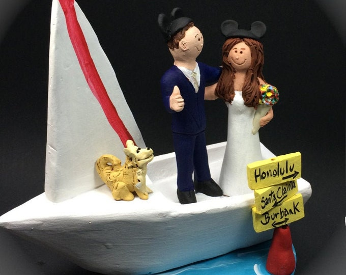 Sailboat Wedding Cake Topper, Yacht Wedding Cake Topper, Power Boat Wedding Cake Topper