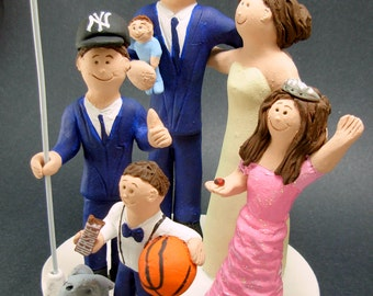 Custom Made Blended Family Wedding Cake Topper,Mixed Family Wedding Cake Topper, Step Family Wedding Cake Topper, Blended Family Caketopper