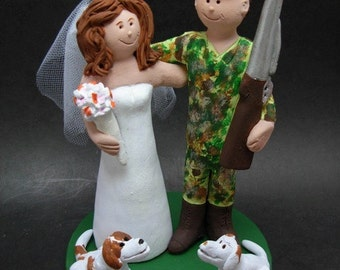 Hunter's Wedding Cake Topper, Hunter in Camo Wedding Cake Topper, Duck Hunting Wedding Cake Topper, Hunter's Wedding Cake Topper
