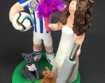 "Bride With Vacuum Cleaner Wedding Cake Topper - Custom Made Soccer Groom Wedding Cake Topper,  ""Clean Freak"" Bride Wedding Cake Topper"