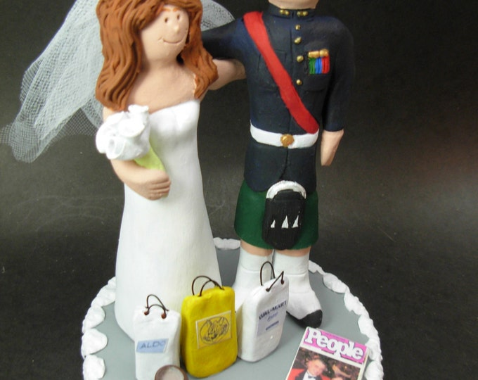 Groom in Kilt Wedding Cake Topper, Scottish Highland Wedding Cake Topper,Wedding Cake Topper Custom Made,Shopping Bride Wedding Cake Topper