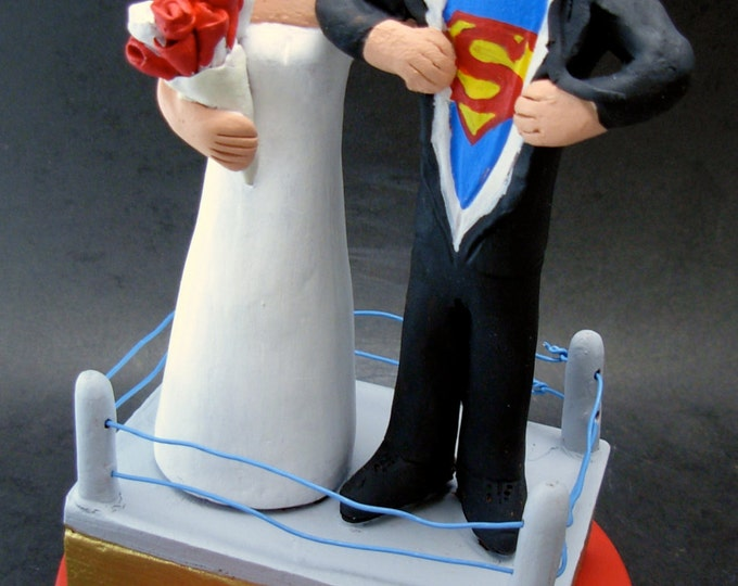 Superman Groom Wedding Cake Topper - Custom Made Wedding Cake Topper - Super Hero Wedding Cake Topper - SuperGroom Wedding Cake Topper
