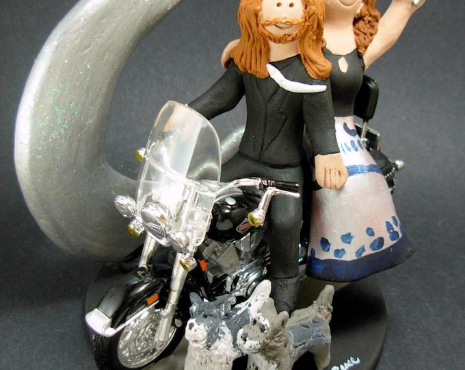 Harley Davidson Wedding Cake Topper, Bikers Wedding Anniversary Cake Topper, Motorcycle Wedding Anniversary Gift/CakeTopper, Harley Bride